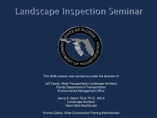 Landscape Inspection Seminar