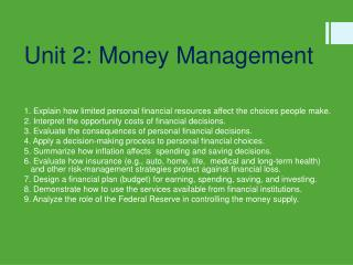 Unit 2: Money  Management