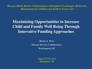 Maximizing Opportunities to Increase Child and Family Well Being Through Innovative Funding Approaches