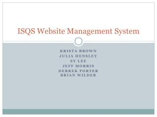 ISQS Website Management System