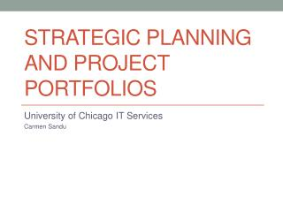 Strategic Planning and Project Portfolios