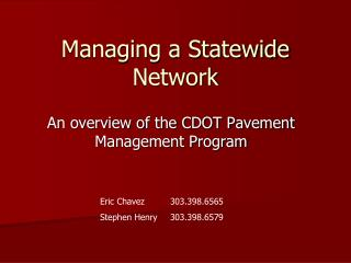 Managing a Statewide Network