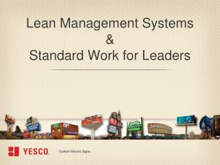 Lean Management Systems  & Standard Work for Leaders