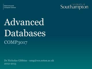 Advanced Databases