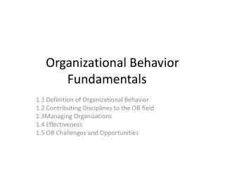 Organizational Behavior Fundamentals