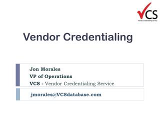 Vendor  Credentialing