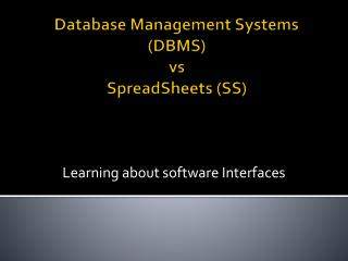 Database Management Systems  (DBMS)  vs SpreadSheets (SS)