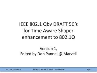 IEEE 802.1  Qbv  DRAFT 5C's for Time Aware Shaper enhancement  to 802.1Q
