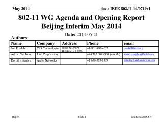 802-11 WG Agenda and Opening Report Beijing Interim May 2014