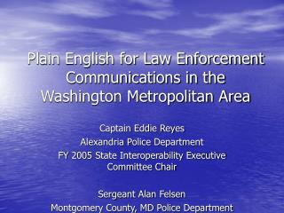 plain english for law enforcement communications in the washington ...