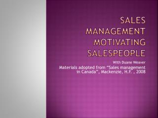 Sales Management Motivating Salespeople
