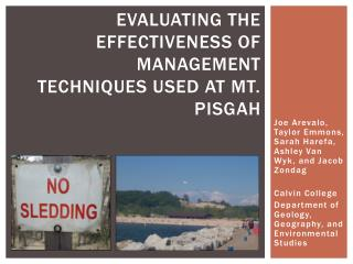 Evaluating the Effectiveness of Management Techniques Used at Mt. Pisgah