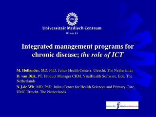 Integrated  management  programs  for chronic disease;  the role of ICT