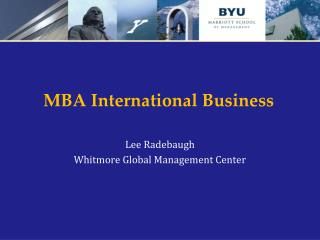 MBA International Business