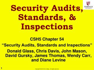 Security Audits, Standards, & Inspections