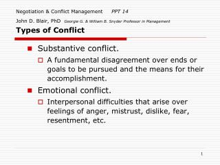 Negotiation & Conflict Management      PPT 14 John D. Blair, PhD   Georgie G. & William B. Snyder Professor in Manageme