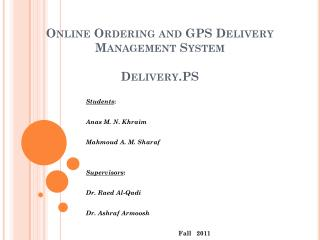 Online Ordering and GPS Delivery Management System Delivery.PS