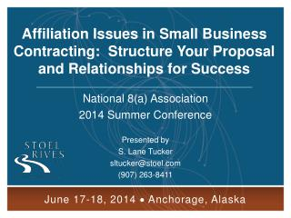 Affiliation Issues in Small Business Contracting:  Structure Your Proposal and Relationships for Success
