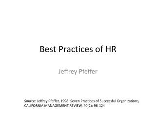 Best Practices of HR
