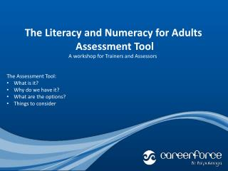 The Literacy and Numeracy for Adults  Assessment Tool