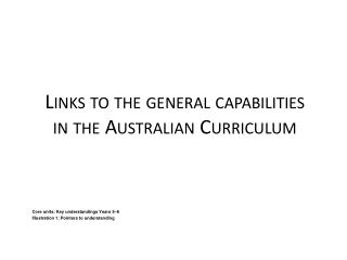 Links to the general capabilities in the Australian Curriculum