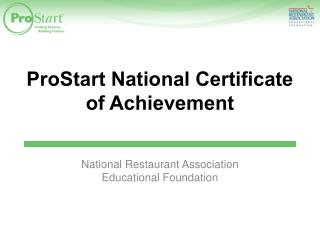 ProStart  National Certificate of Achievement