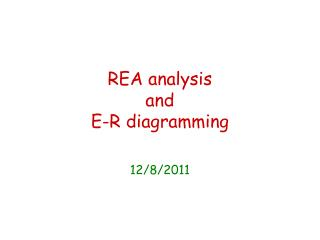 REA analysis and  E-R diagramming