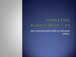 Marketing management 3.03