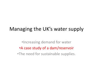Managing the UK's water supply