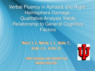 Verbal Fluency in Aphasia and Right-Hemisphere Damage:  Qualitative Analysis Yields Relationship to General Cognitive Fa
