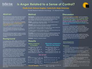 Is Anger Related to a Sense of Control?  Phyllis Ernst, DeLeon Hughes, Carla Kuhl,  Moje Omoruan