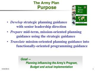 The Army Plan Purpose