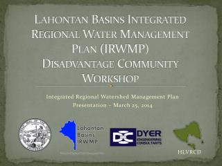 Lahontan Basins Integrated Regional Water Management Plan (IRWMP)  Disadvantage Community  Workshop