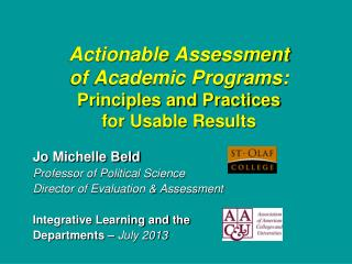 Actionable Assessment of Academic Programs: Principles and Practices for Usable Results