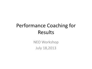 Performance Coaching for Results