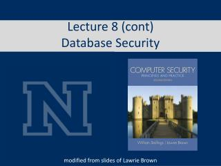 Lecture 8 ( cont ) Database Security