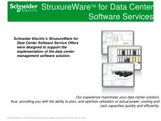 StruxureWare TM  for Data Center  Software Services