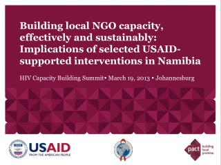 Building local NGO capacity, effectively and sustainably: Implications of selected USAID-supported interventions in Nam
