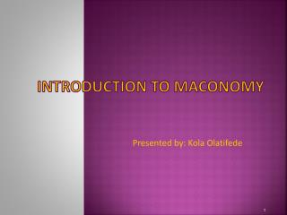 Introduction to Maconomy