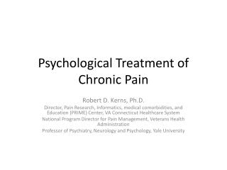 Psychological Treatment of Chronic Pain