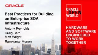 Best Practices for Building an Enterprise SOA Infrastructure