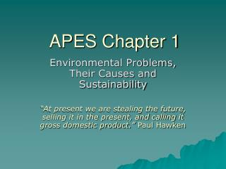 APES Chapter 1