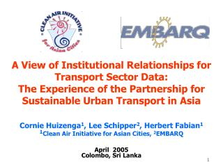 A View of Institutional Relationships for Transport Sector Data:  The Experience of the Partnership for Sustainable Urba
