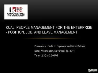 Kuali People Management for the Enterprise - Position, Job, and Leave Management