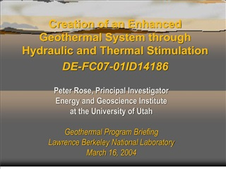 creation of an enhanced geothermal system through hydraulic and thermal stimulation de-fc07-01id14186