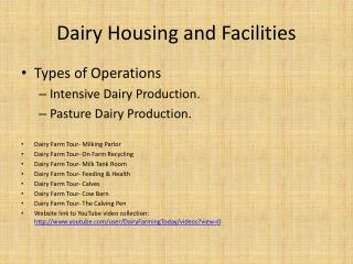 Dairy Housing and Facilities