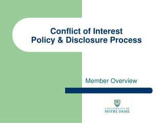 Conflict of Interest Policy & Disclosure Process