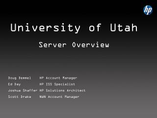 University of Utah Server Overview