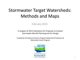 Stormwater  Target Watersheds: Methods and Maps