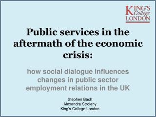 Public services in the aftermath of the economic crisis: